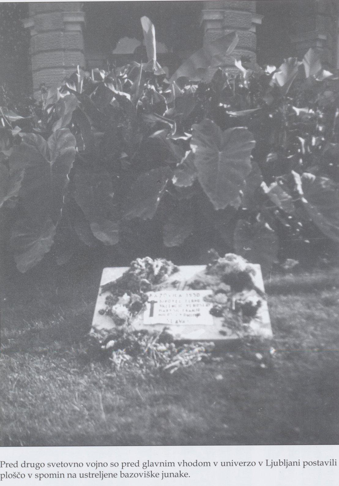 Slika 1 Plošča bazoviškim junakom